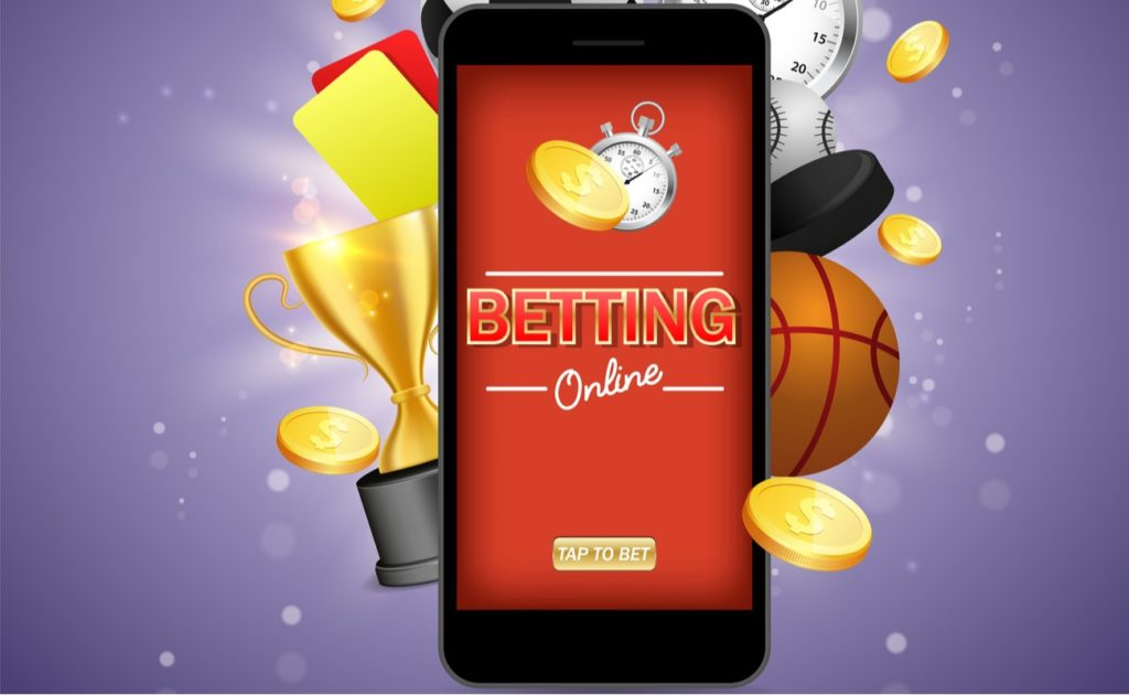 Online betting vector poster banner on purple background