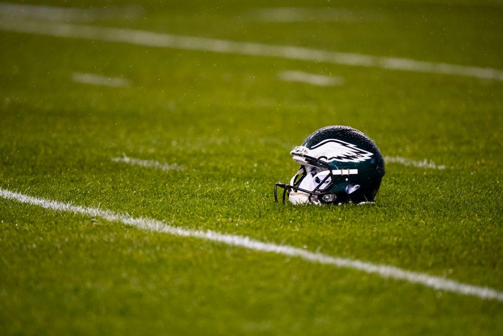 Philadelphia American football helmet on the field