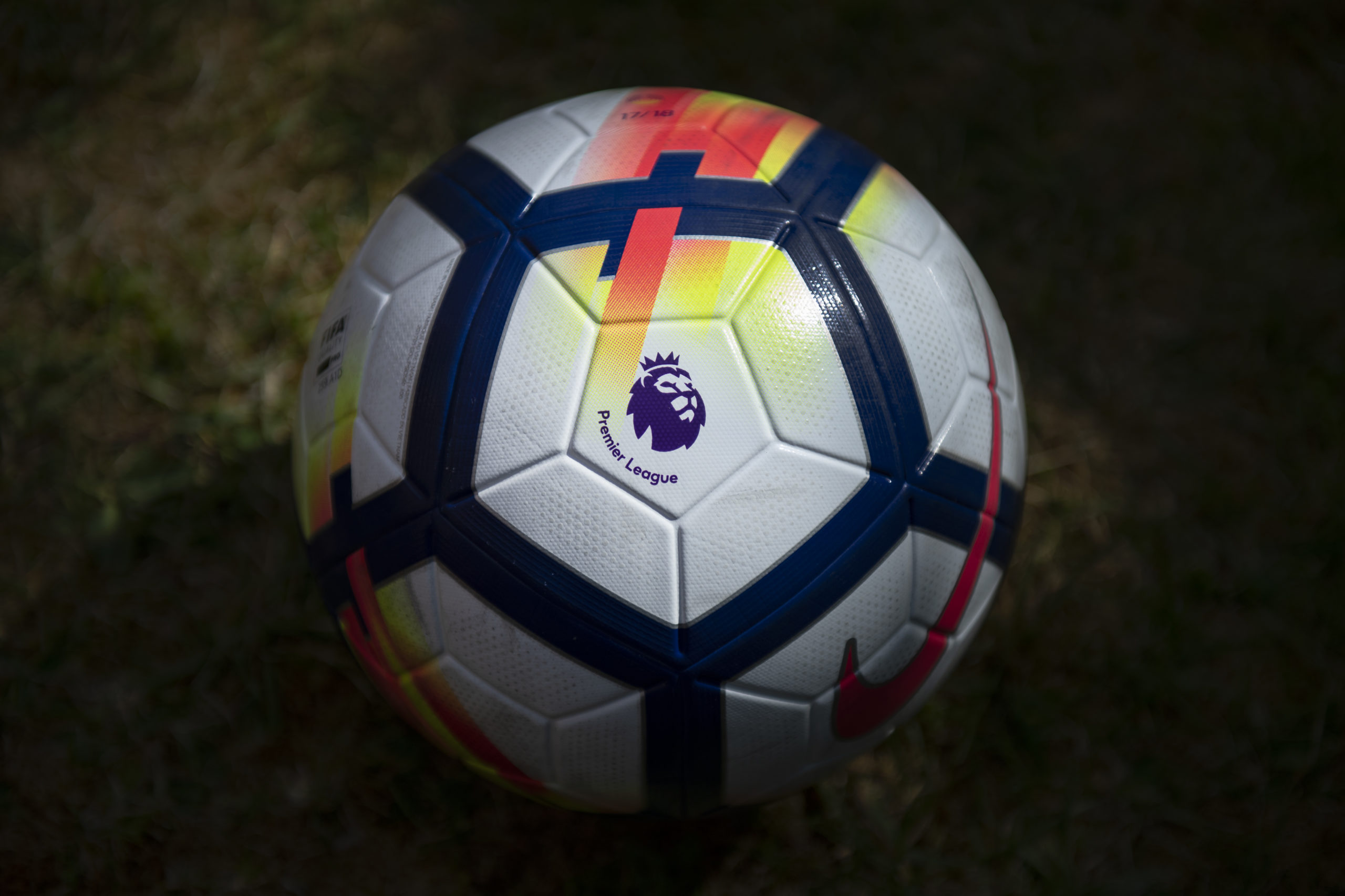 Premier League logo stamped on a match ball
