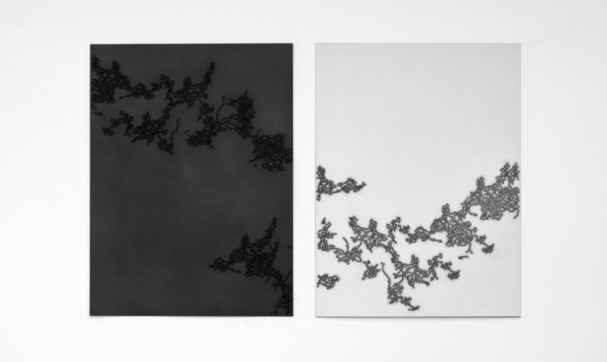 Taney Roniger, Inscape Series (Diptych: Fenghuang, Graphite), 2015