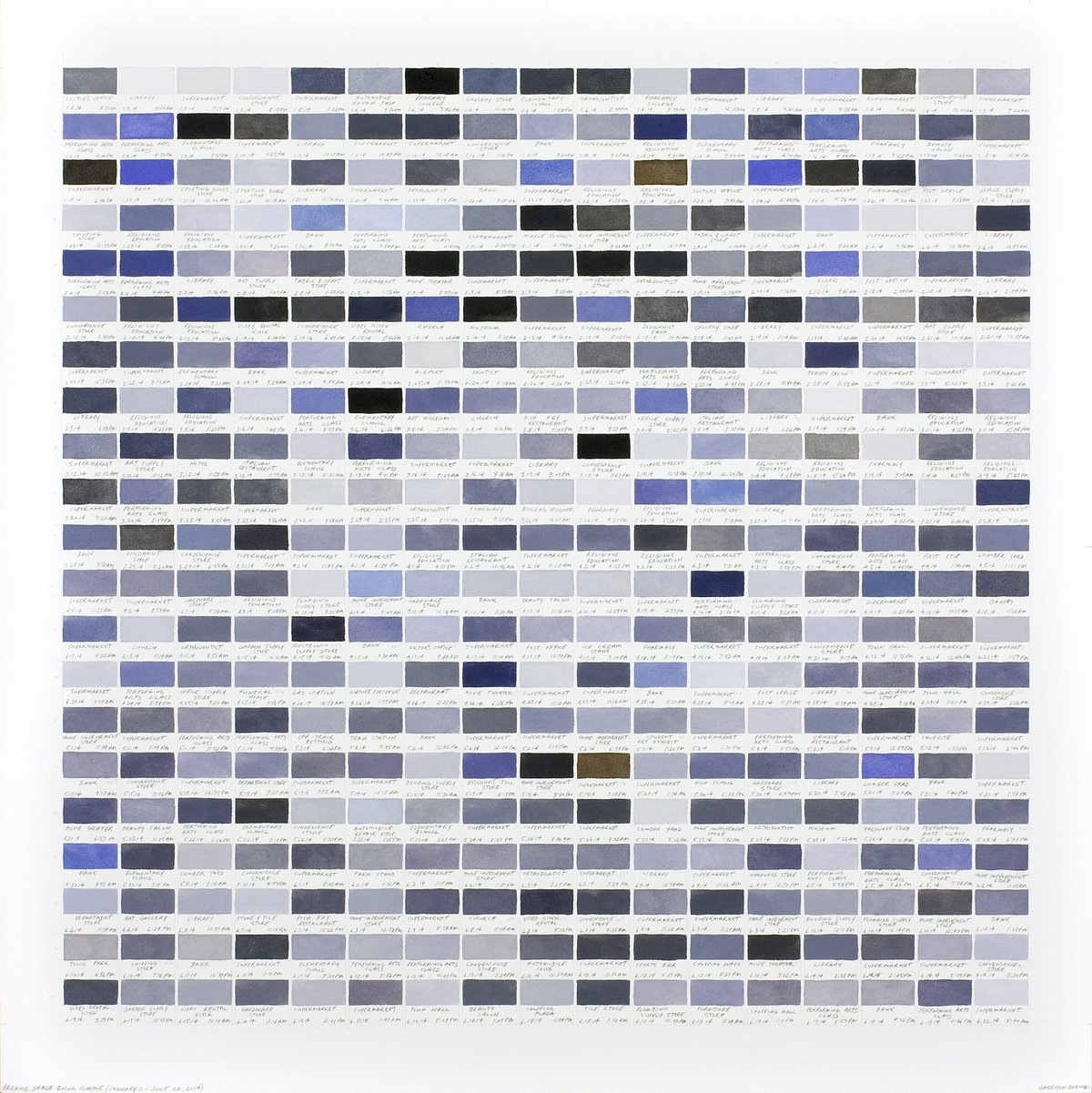 Richard Garrison, Parking Space Color Scheme (January 2 – June 22, 2014), 2015-2016