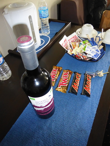 """Free"" wine and snacks in our cabin."