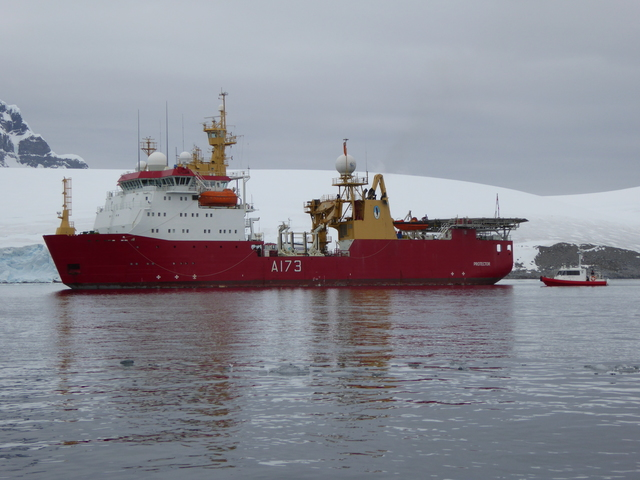 The HMS Protector supports British operations in Antarctica. It was picking up some of the folks working at Port Lockroy.
