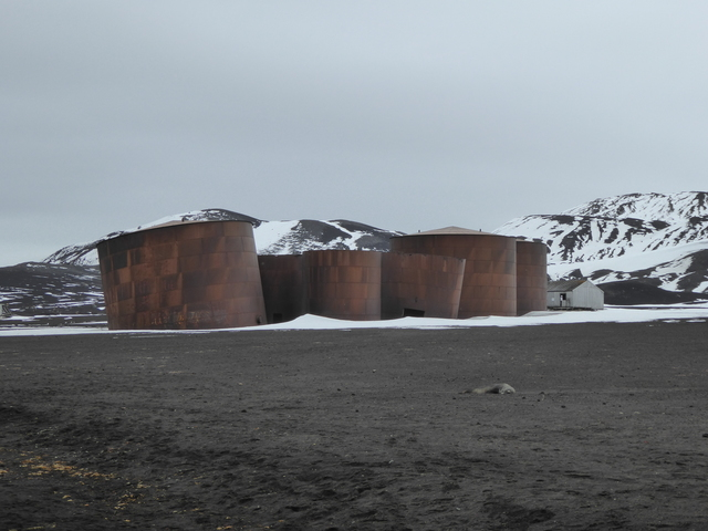 Abandoned silos on deception island.