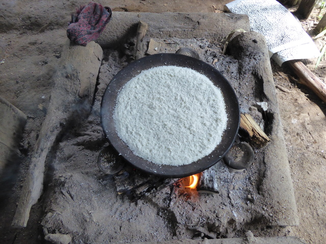 "Here is the ""flour"" spread on the wood fired pan."