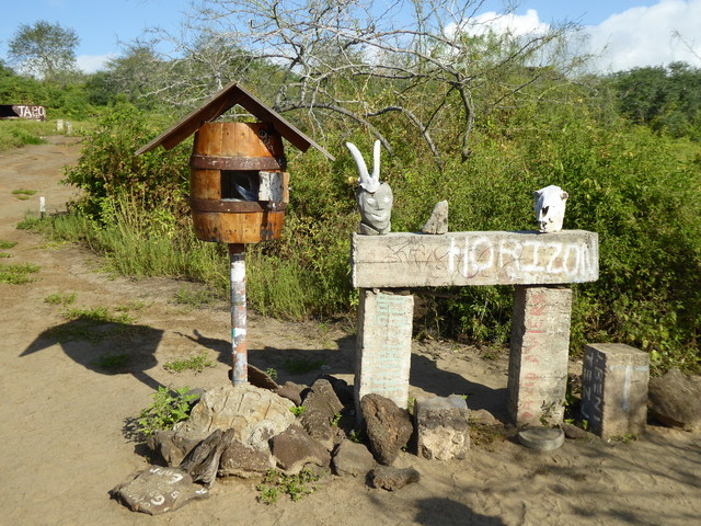 Galapagos post office. People leave postcards for others to hand deliver!