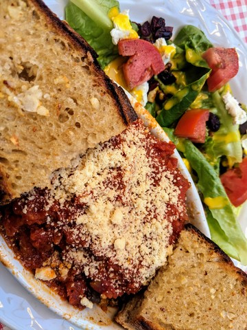 Lasagna, excellent bread and salad with mustard vinaigrette.