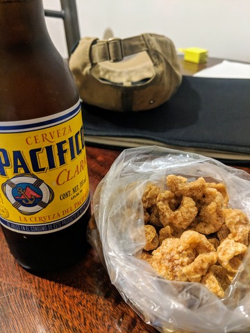 Home made chicharrónes (pork rinds).