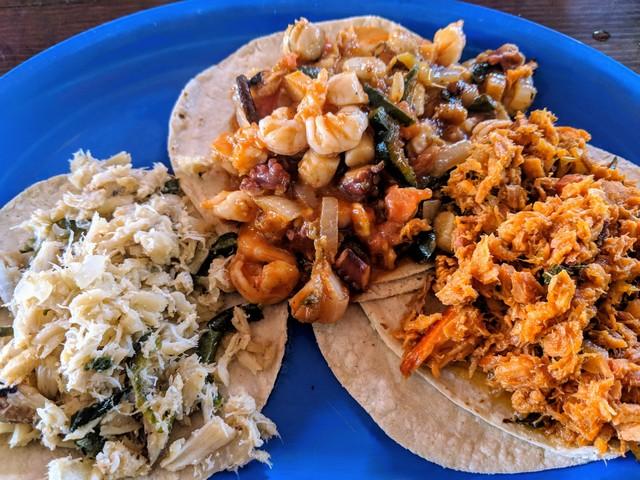 Crab, Marlin, and mixed seafood tacos.