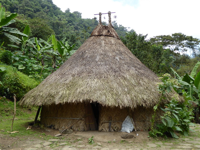 A traditional house of the indigenous people. The two peaks on the top represent the two snow capped peaks sometimes visible in the nearby Sierra Nevada mountain range.