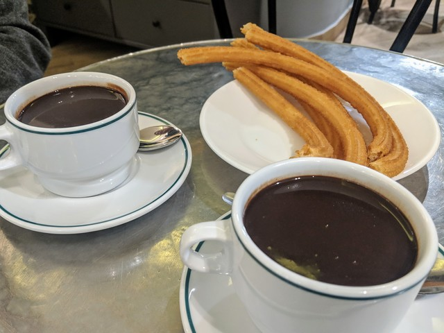 Churros and dipping chocolate. We thought it was for drinking and ordered two, oops!