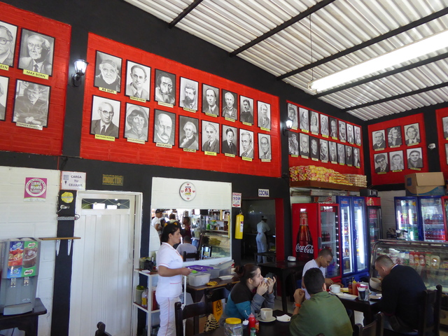 This was on the way to Medellín, the bus stopped here for folks to get food. The walls are covered with portraits of famous scientists!