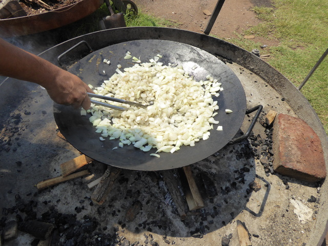 This is at the first winery I visited, onions cooking on a wood fire for the empanadas we ate later on.