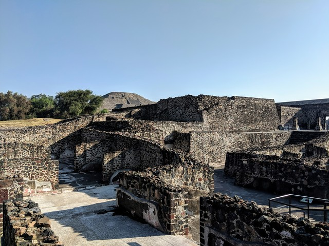 Some partly reconstructed living quarters in the great city of Teotihuacán, circa 300 - 450 AD.