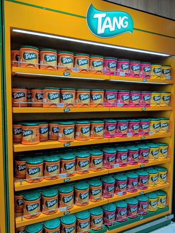 A whole wall of Tang in the duty free shop in the Muscat, Oman airport.