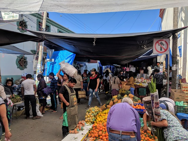 A small part of the massive market in Tlacolula. This is a fairly small town, but the market is like a mall, they sell everything from food to clothes to housewares.