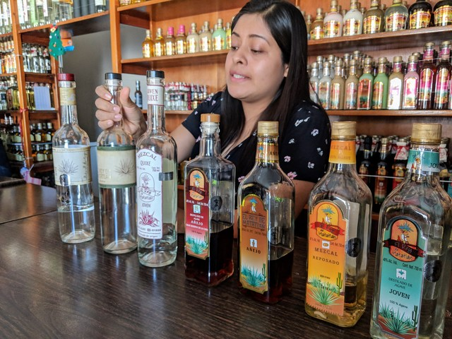 Tasting the many types of mezcal.