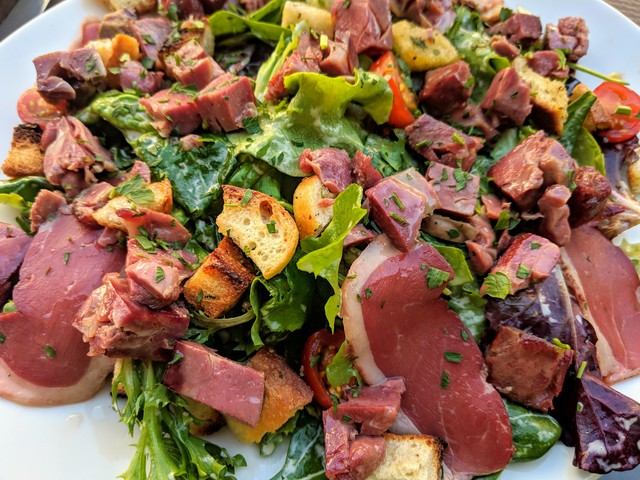 Salad with beef tongue and smoked beef