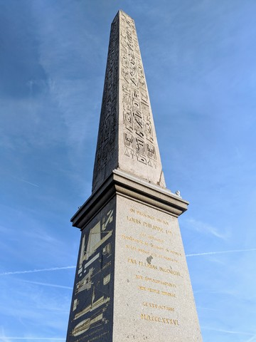 The Luxor Obelisk originally stood at the entrance to the Luxor Temple in Egypt. It was brought to Paris in 1833.