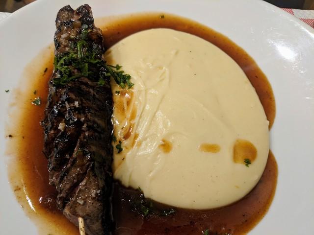 Honey glazed duck breast with aligot. Aligot is basically cheesy mashed potatoes. So tasty!