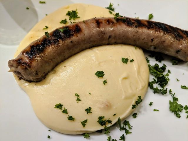 Pork sausage with aligot
