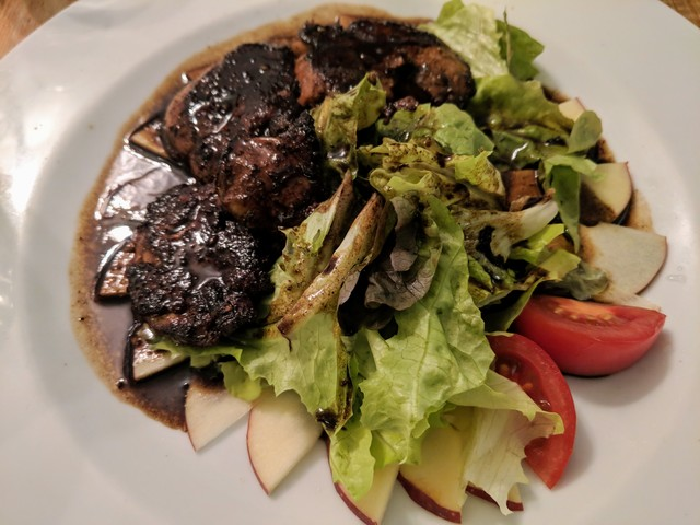 Whole peices of foie gras in wine sauce
