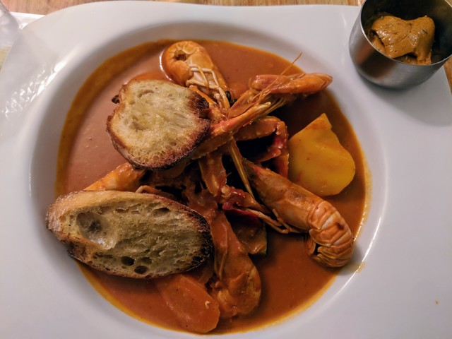 Bouillabaisse, a famous french seafood soup. I wasn't a huge fan, personally.