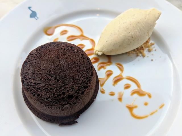 Chocolate pudding cake and vanilla ice cream