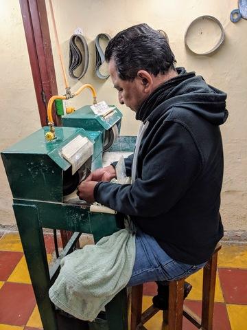 Polishing a piece of jade