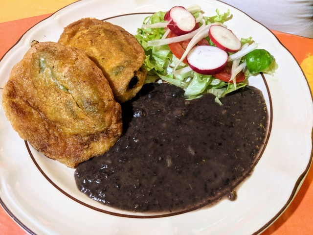 Chile rellenos and black beans
