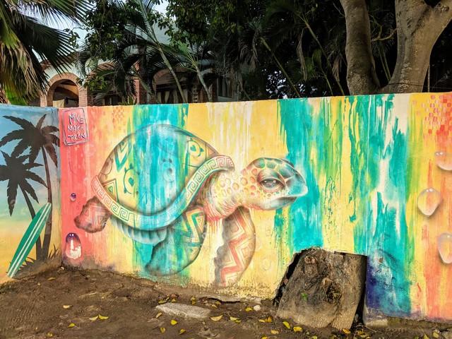 Cool beach hostel mural