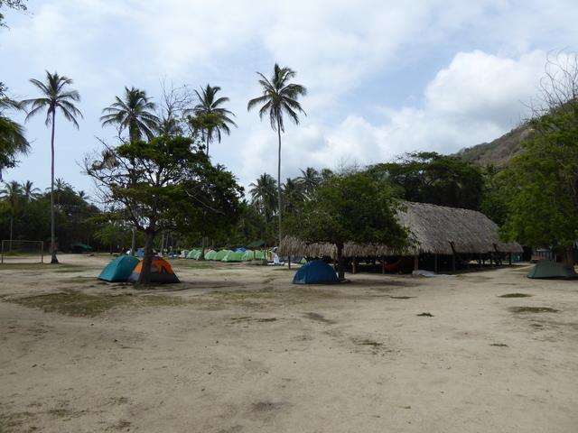 The camp site and hammock dorm at Cabo San Juan in Tayrona National Natural  Park.