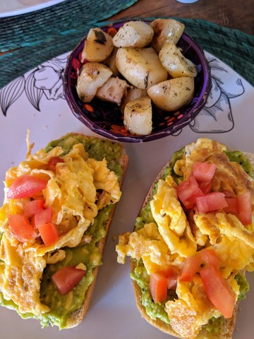 Avocado toast with scrambled eggs and potatoes. The bread here was really good, I think it must have been homemade.