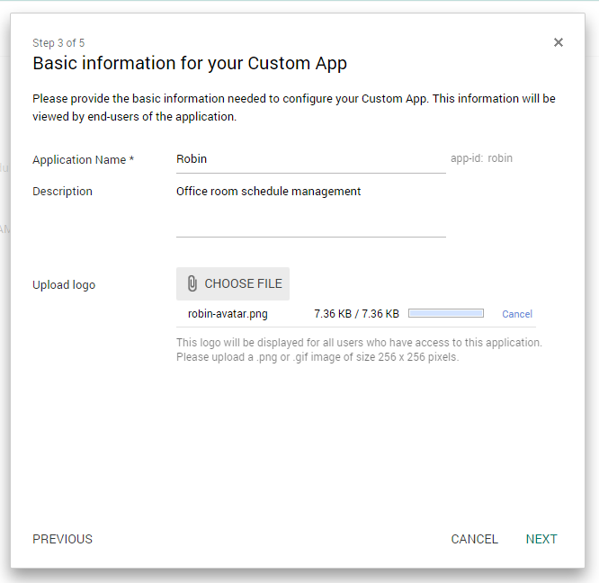 Basic app information for Google SAML