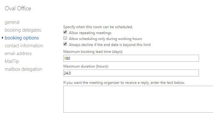 Change meeting duration limits in Office 365