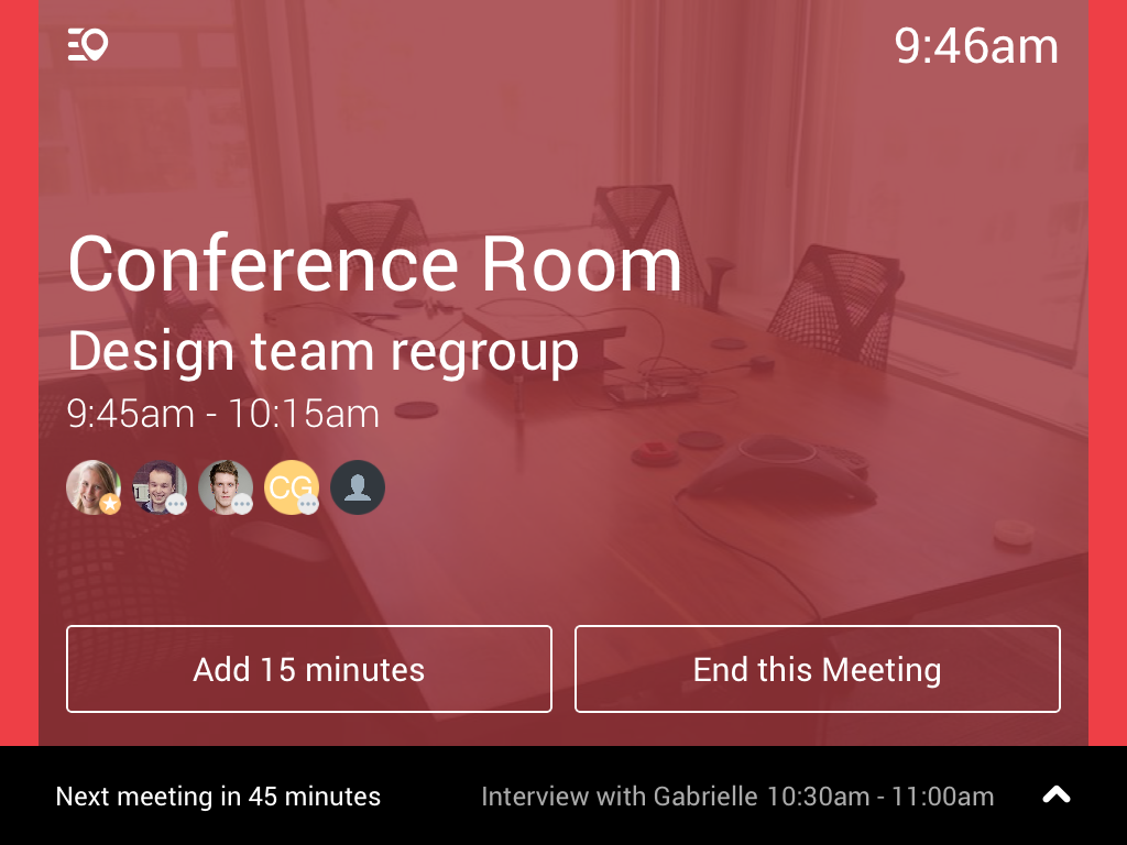 Robin meeting room display app when in use
