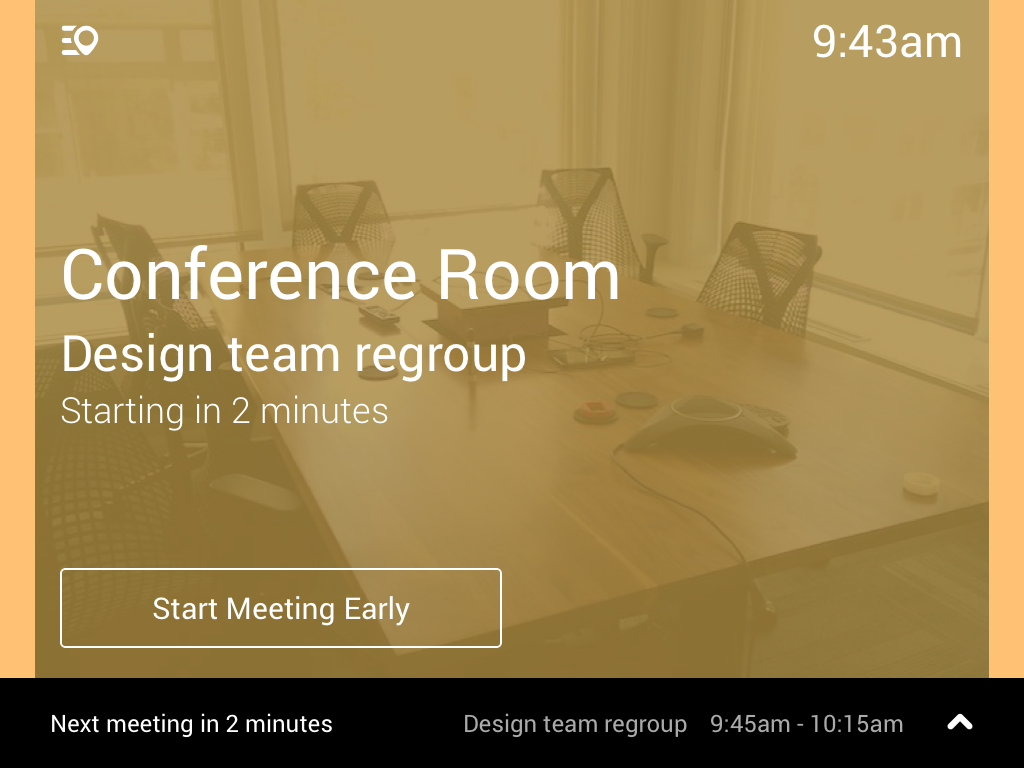 Robin meeting room display app when booked