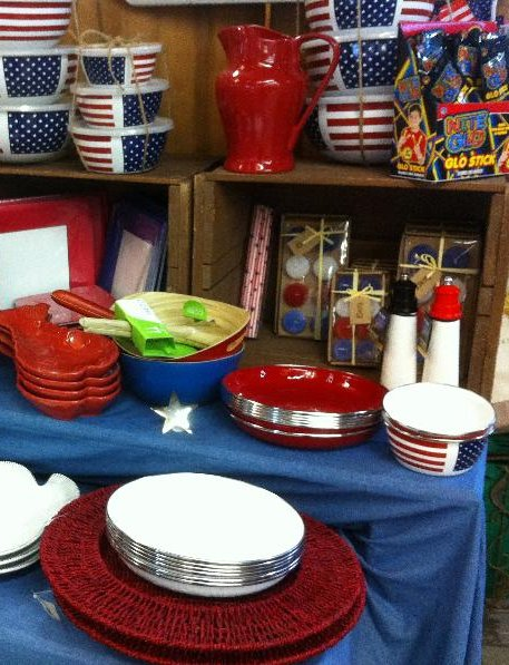Red White and Blue Display