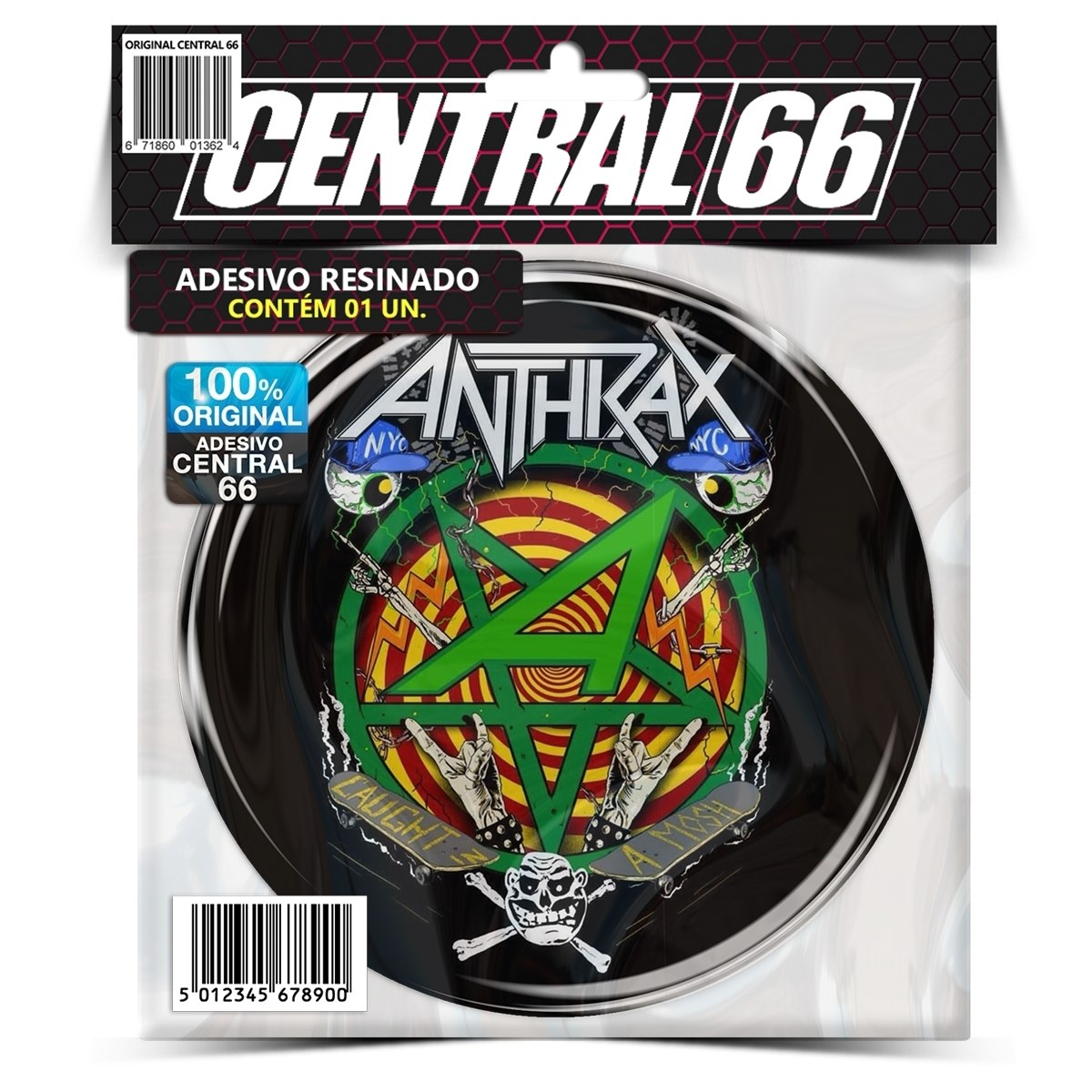 Adesivo Redondo Anthrax Caught in A Mosh – Central 66