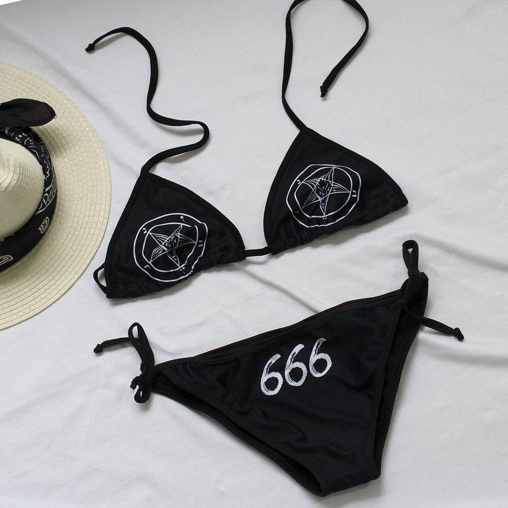 Biquíni Cortininha Pentagrama 666 - Bloody Hell Wear