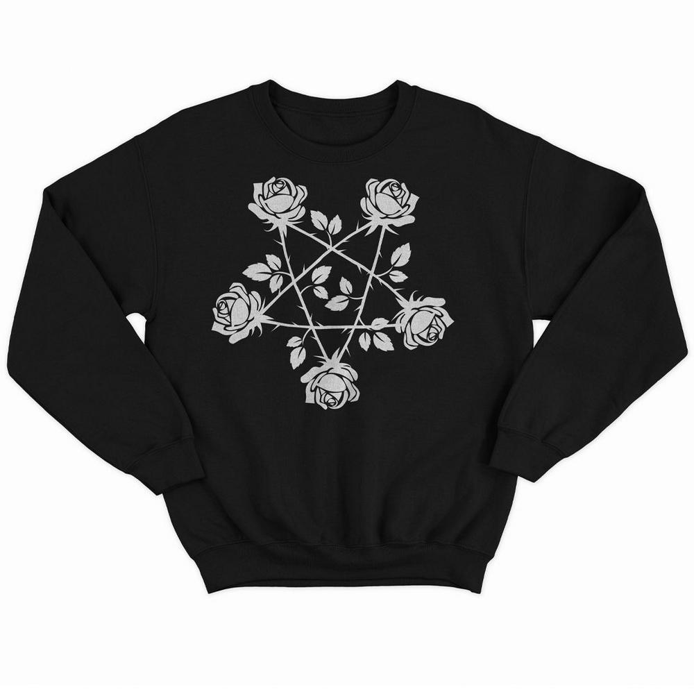 Blusão Moletom sem Capuz Unissex Pentagrama de Rosas - Bloody Hell Wear