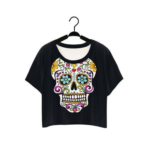 Blusinha Cropped Caveira Mexicana - SkullAchando