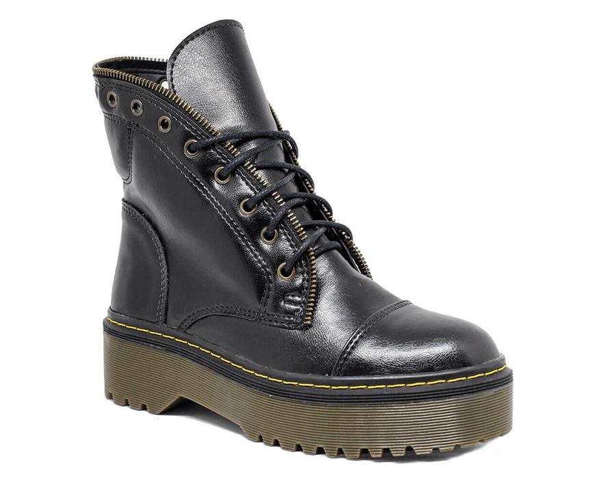 Bota Coturno Milano Estilo Inglês Preto - Estilo Veggie Shoes