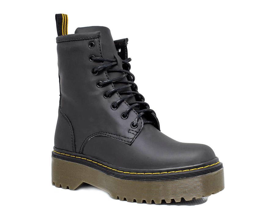 Bota Coturno Tratorada Estilo Inglesa Preto Fosco - Estilo Veggie Shoes