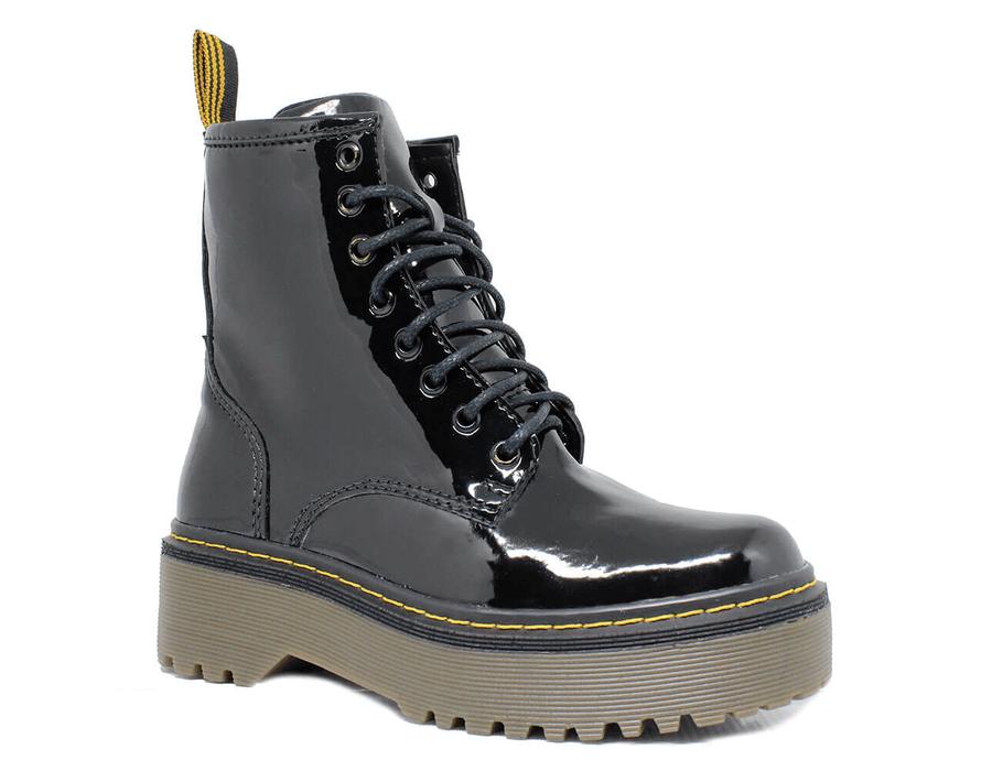 Bota Coturno Tratorada Estilo Inglesa Verniz Preto - Estilo Veggie Shoes