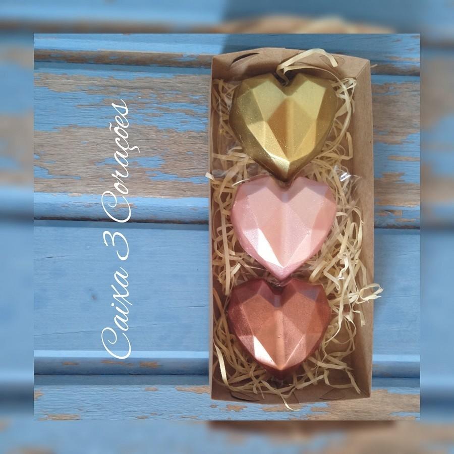 Caixa 3 corações de Chocolate com Recheio de Paçoca