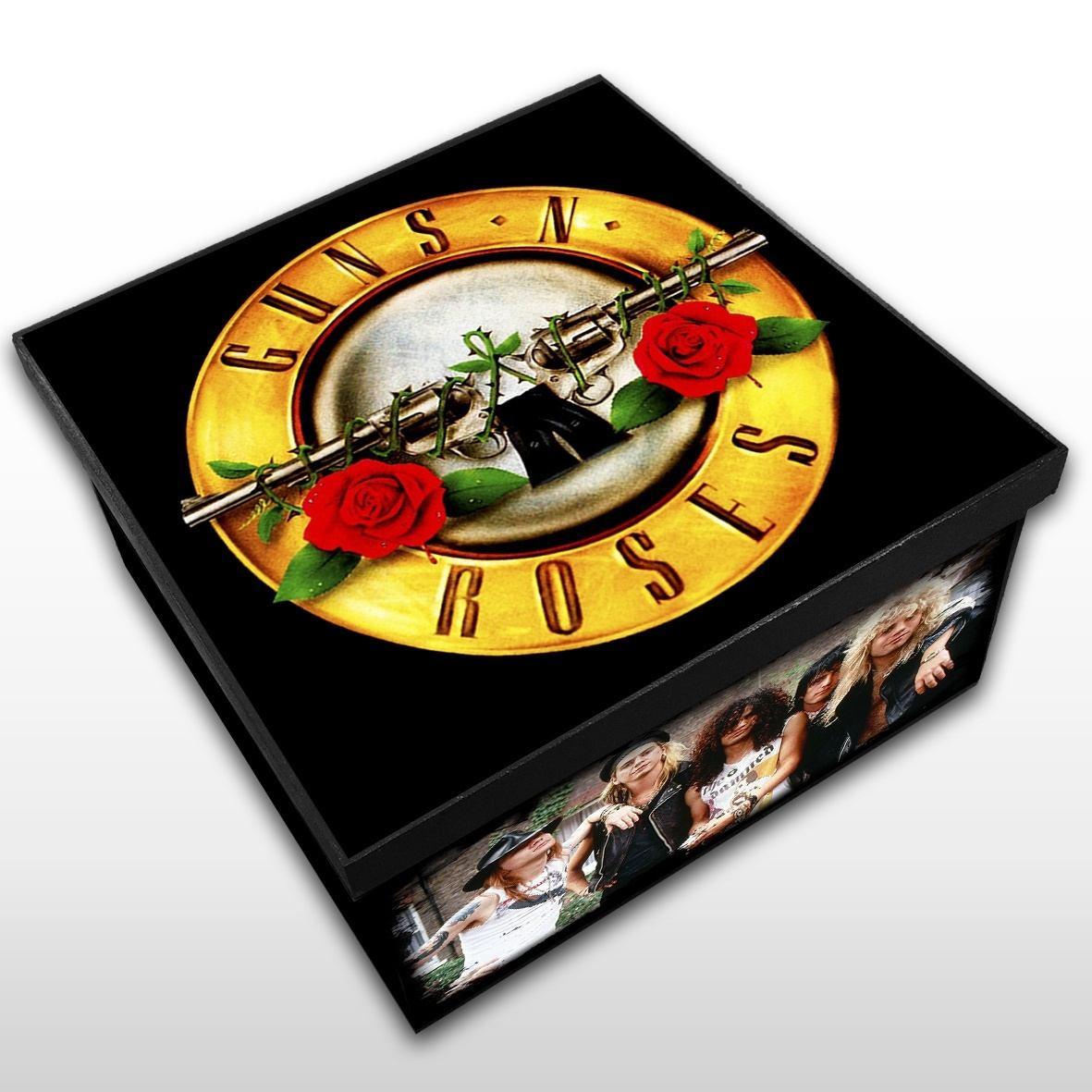 Guns'N'Roses - Caixa em Madeira MDF - Tamanho Médio - Mr. Rock - Guns