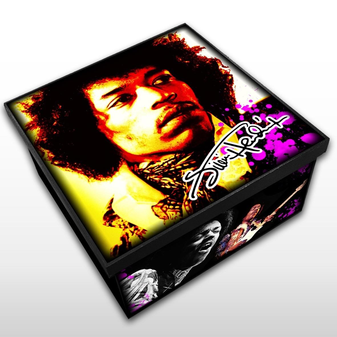 Jimi Hendrix - Caixa em Madeira MDF - Tamanho Médio - Mr. Rock