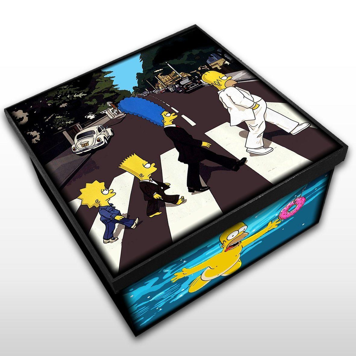 The Simpsons - Abbey Road + Nevermind - Caixa em Madeira MDF - Tamanho Médio - Mr. Rock