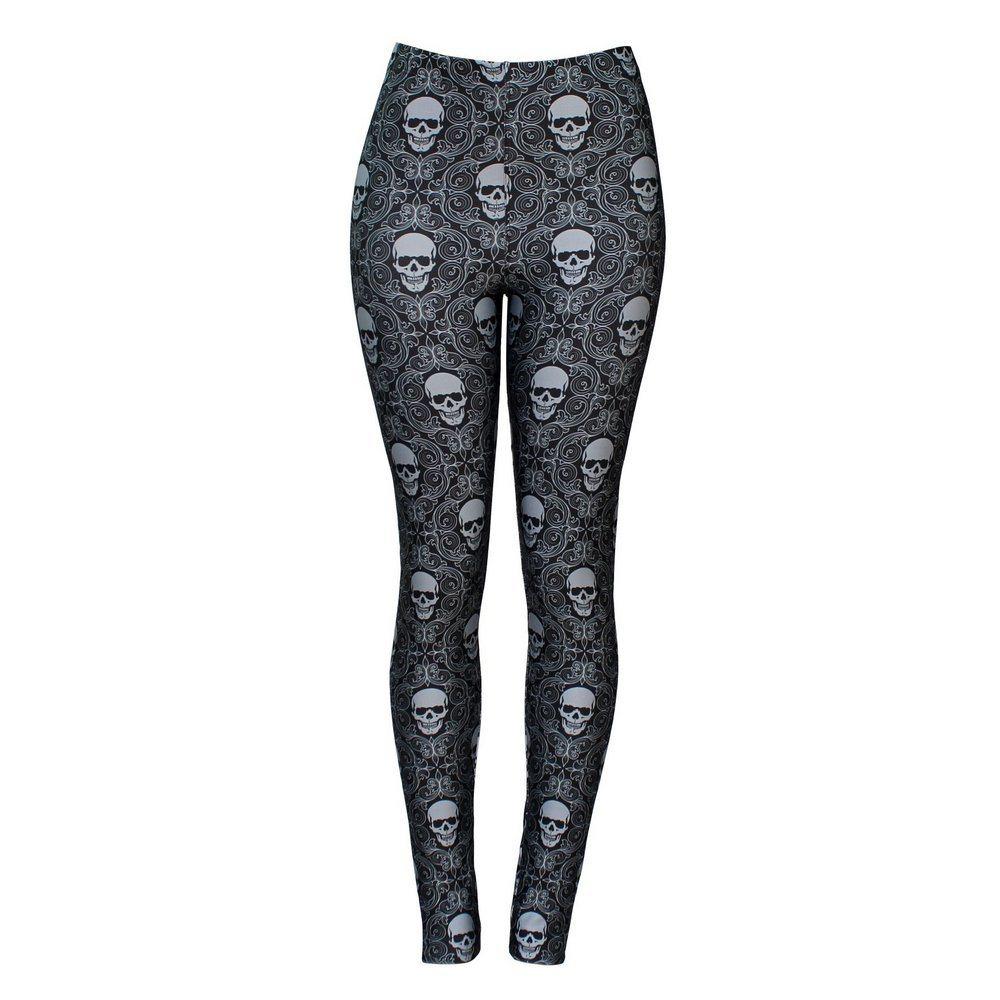 Calça Legging Feminina Gray Skull - Bloody Hell Wear